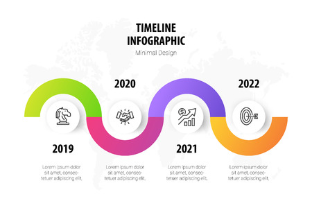 timeline minimal infographic template, 4 steps business milestone history timeline infographic layout, vector design element