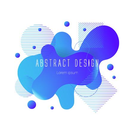 blue abstract liquid shape, vector banner modern design