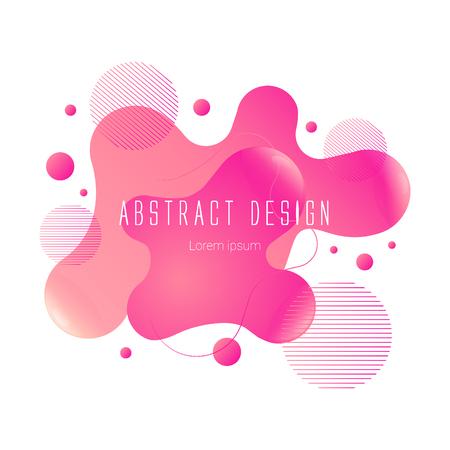 pink abstract liquid shape, vector banner modern design