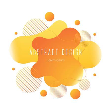 orange abstract liquid shape, vector banner modern design