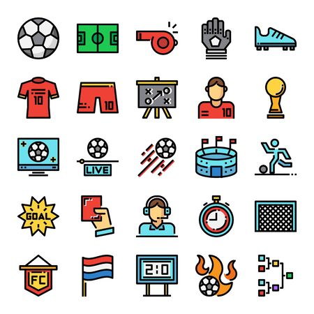 soccer pixel perfect color line icons, vector editable stroke Иллюстрация