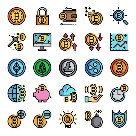 cryptocurrency color line pixel perfect icons, vector line editable stroke Иллюстрация