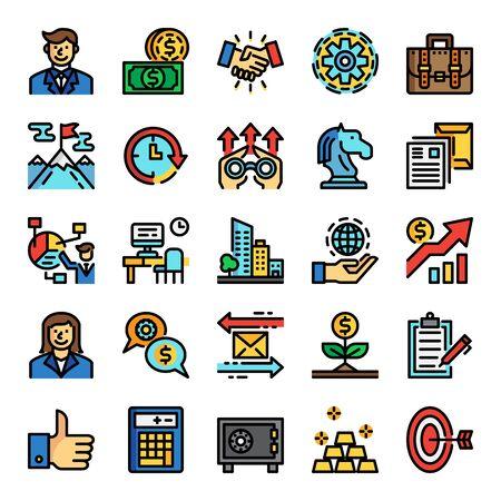 business pixel perfect color line icons, vecor editable stroke