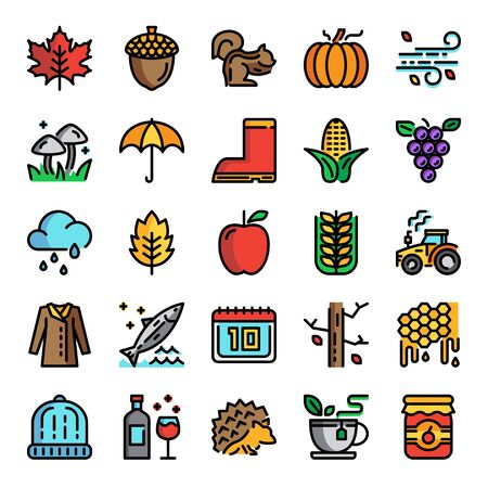 autumn pixel perfect color line icons, vector line editable stroke
