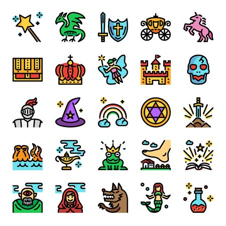 fairy tale color line pixel perfect icons, vector editable stroke