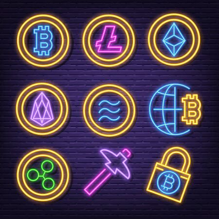 cryptocurrency neon icons, vector neon glow on dark background