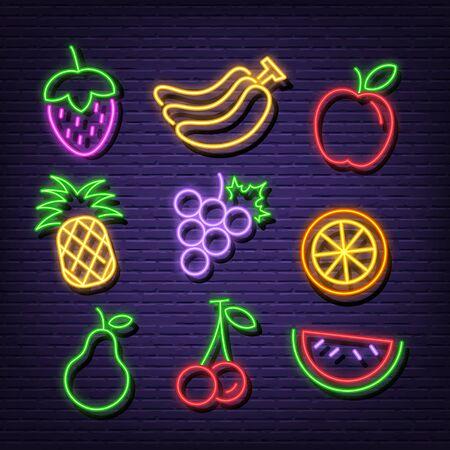 fruit neon icons, vector neon glow on dark background
