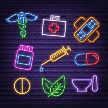 medicine neon icons, vector neon glow on dark background Иллюстрация