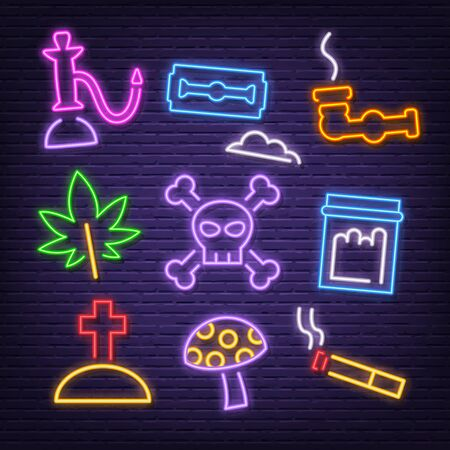 drug neon icons, vector neon glow on dark background