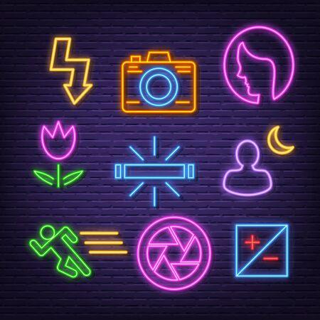 photography neon icons, vector neon glow on dark background