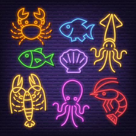 seafood neon icons, vector neon glow on dark background Иллюстрация