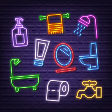bathroom neon icons, vector neon glow on dark background