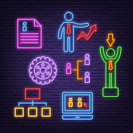human resource neon icons, vector neon glow on dark background