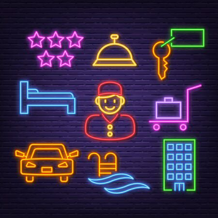 hotel neon icons, vector neon glow on dark background Иллюстрация