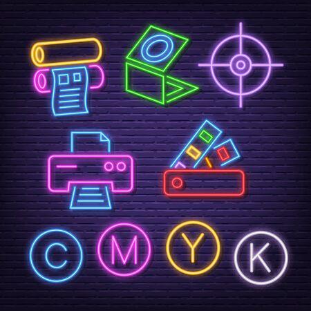 printing neon icons, vector neon glow on dark background