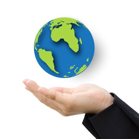 business hand with paper globe save the earth concept