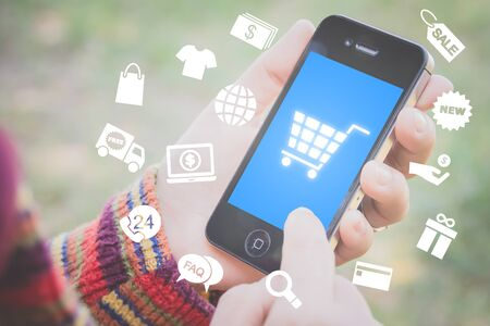 mobile shopping concept with icons