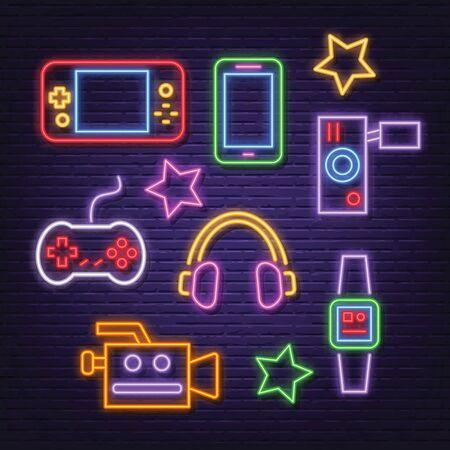 gadget neon icons, vector neon glow on dark background