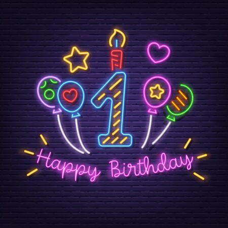 happy first birthday neon signboard vector design Illusztráció