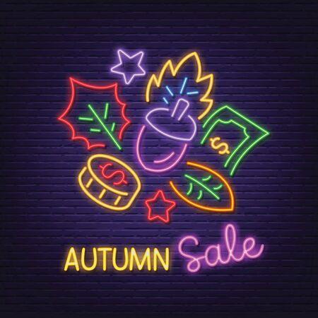 autumn sale neon signboard vector design Illusztráció
