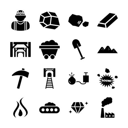 mining solid icons vector design