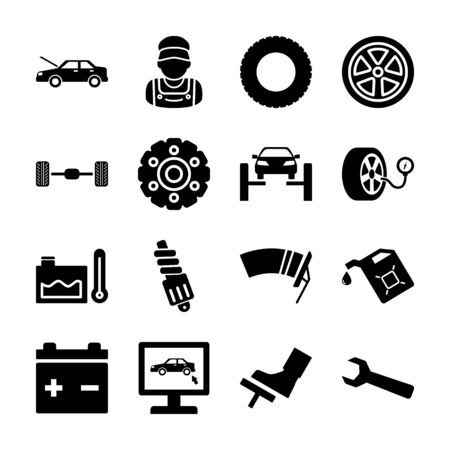car service solid icons vector design  イラスト・ベクター素材