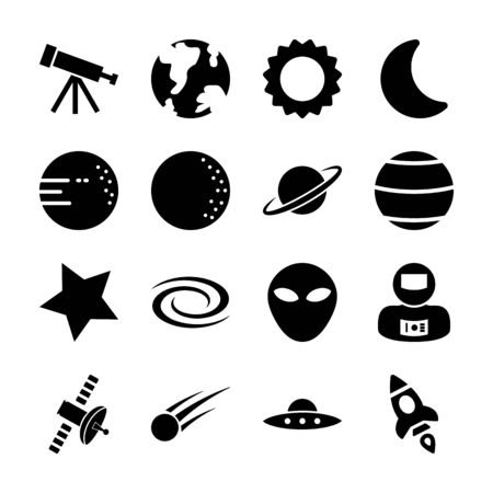space solid icons vector design 일러스트