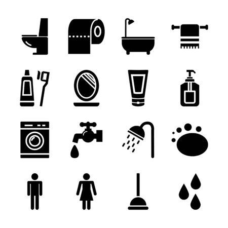 bathroom solid icons vector design
