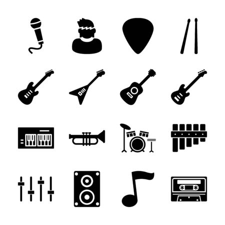band solid icons vector design