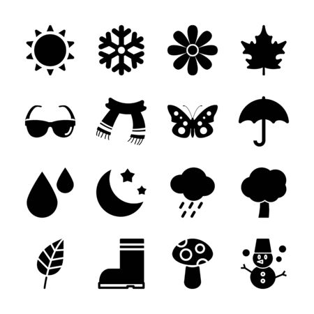 season solid icons vector design
