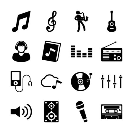 music solid icons vector design 일러스트