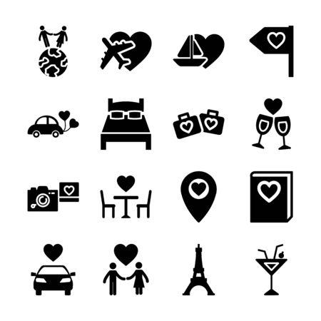 honeymoon solid icons vector design 向量圖像