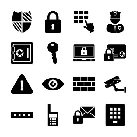 security solid icons vector design