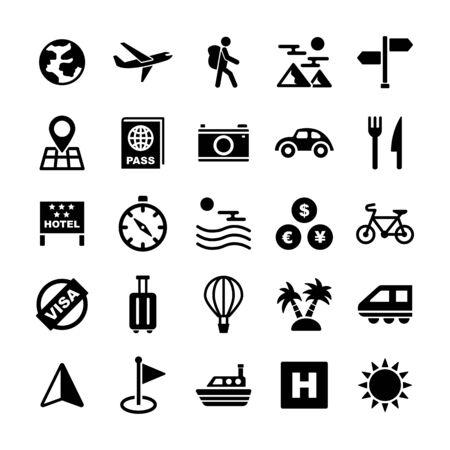 travel solid icons vector design Иллюстрация