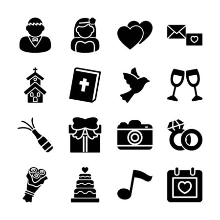 wedding solid icons vector design Фото со стока - 130043178