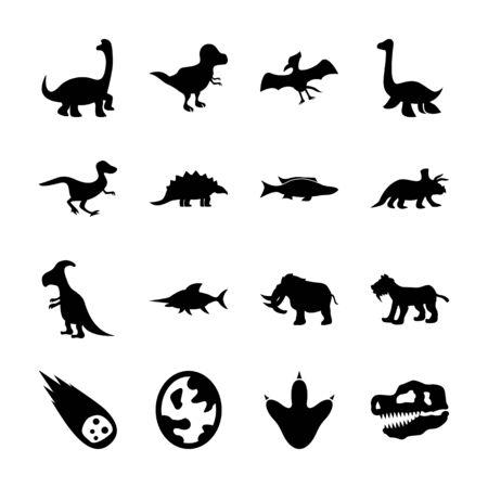 dinosaur solid icons vector design Illustration