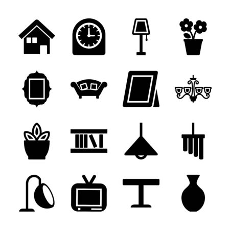 home decoration solid icons vector design