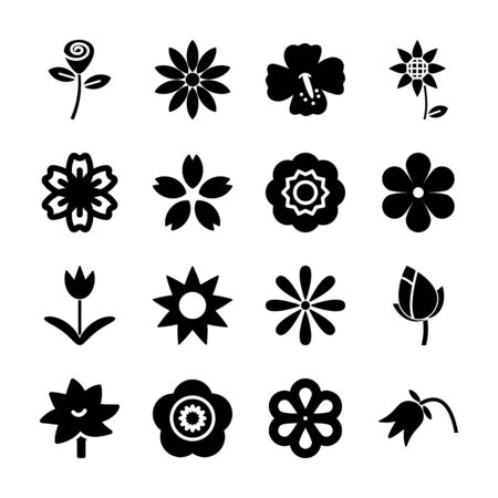 flower solid icon vector design Stok Fotoğraf - 130043315