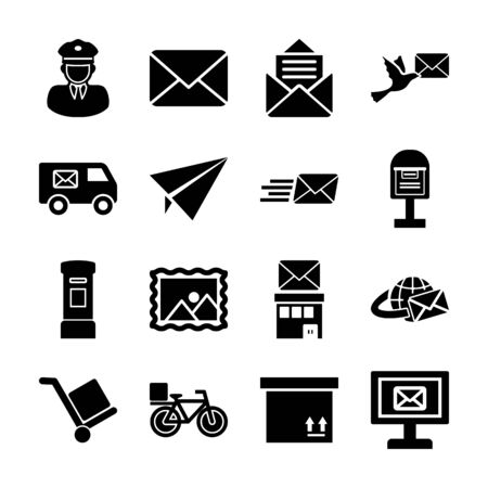 post service solid icons vector design
