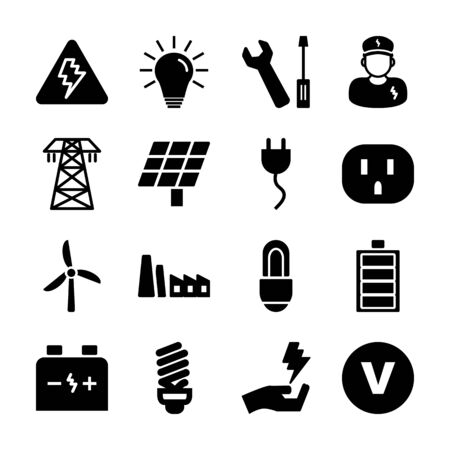 electricity solid icon vector design Ilustrace