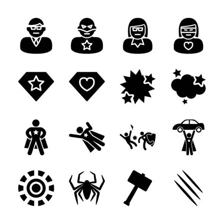 superhero solid icons vector design 向量圖像