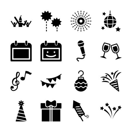 new year solid icons vector design
