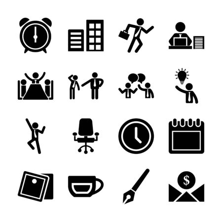 office life solid icons vector design