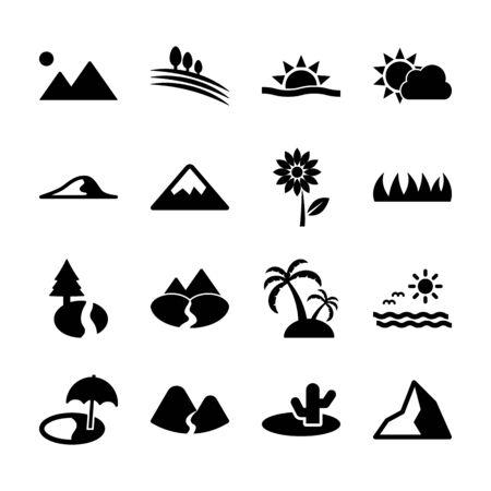 landschap solide iconen vector design