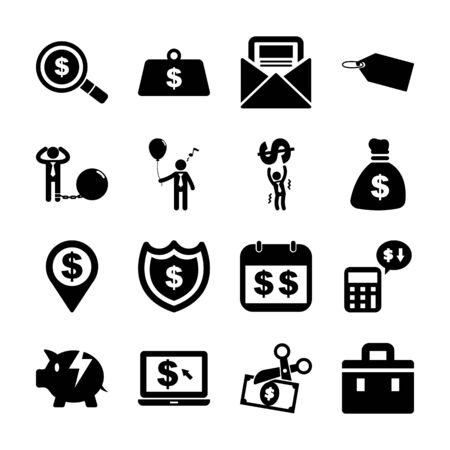 tax solid icons vector design