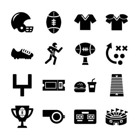 american football solid icons vector design Ilustração