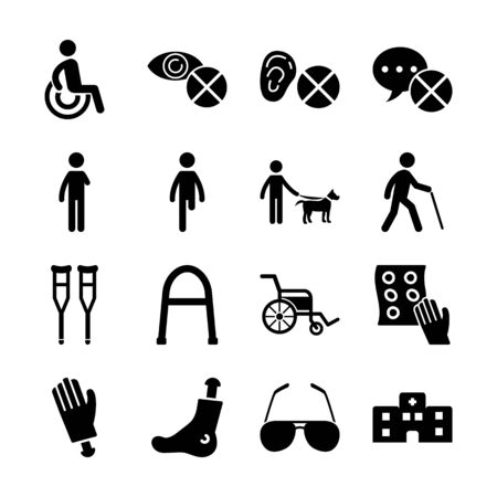 disabled solid icons vector design
