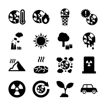 global warming solid icon vector design