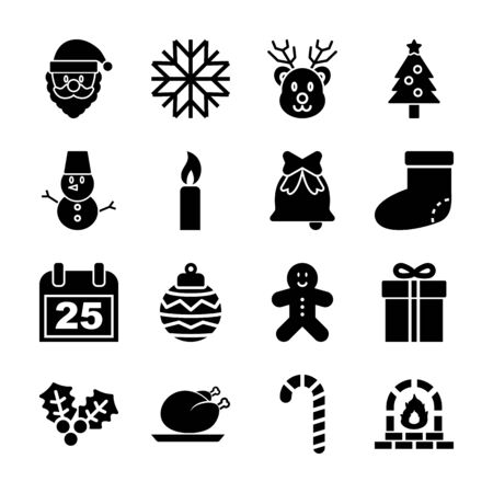 christmas solid icons vector design