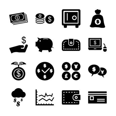 money solid icons vector design Иллюстрация